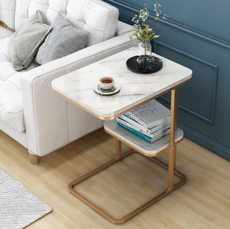 Creative Side Table Living Room Small Tea Table Sofa Corner Iron Frame Square Coffee Table Sofa Side Table With One Shelf Living Room Side Table Iron Frame Coffee Table Sofa Side
