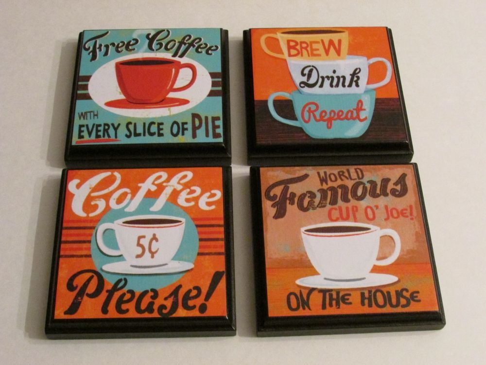 Retro Coffee Kitchen Wall Plaques Set Of 4 Retro Wall Signs Decor