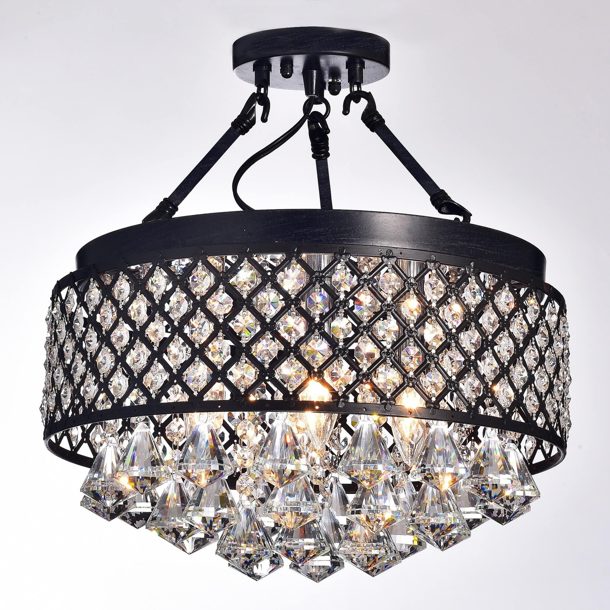 Silver Orchid Taylor 4 Light Antique Black Semi Flush Mount Crystal Chandelier