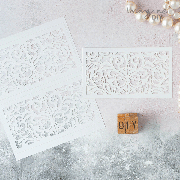 White laser cut invitation panels diy laser cut invitation supplies lucy laser cut pocket range in white for diy wedding stationery imagine diy junglespirit