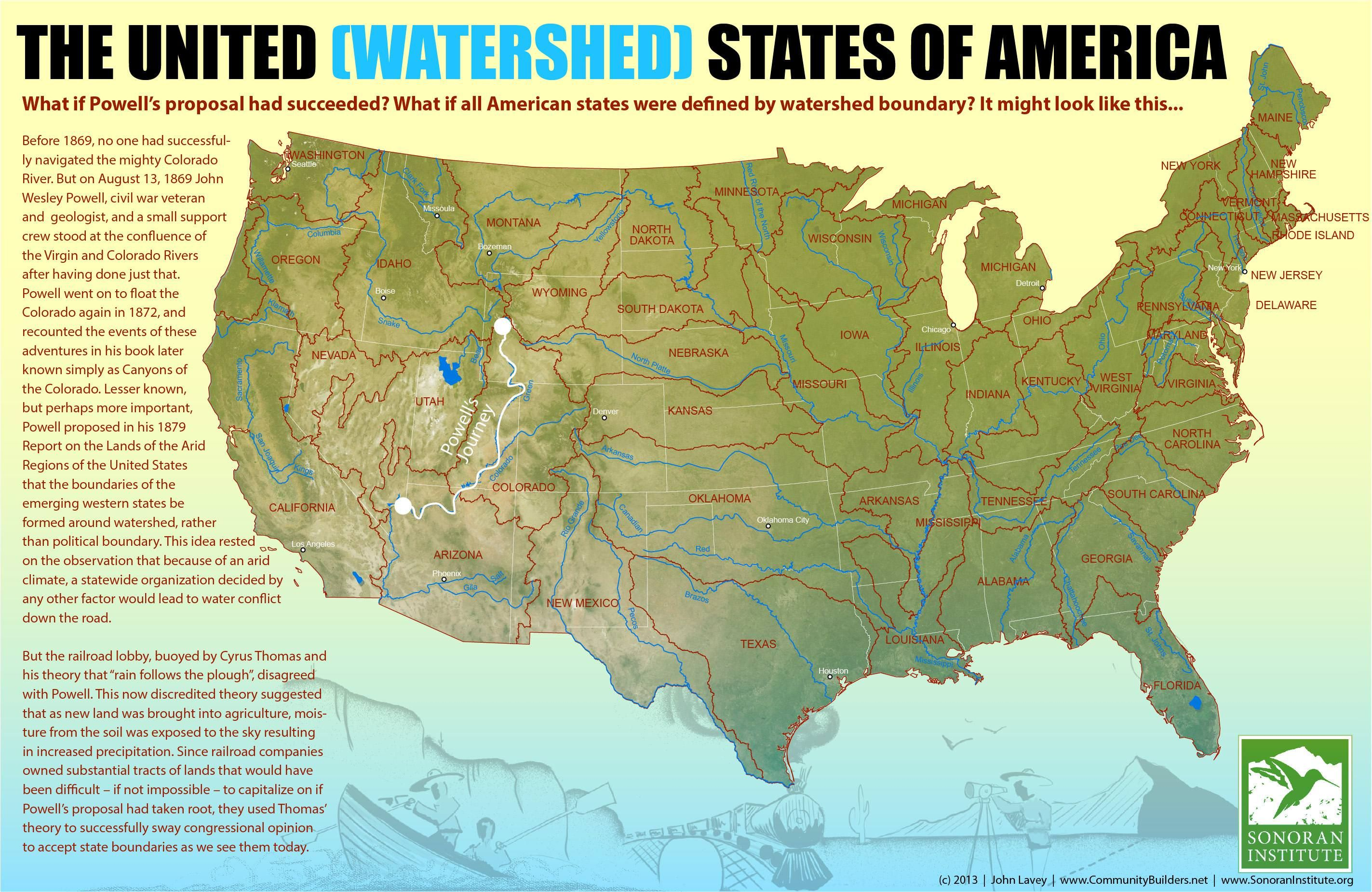 The United (Watershed) States of America | Weird maps | Map ...