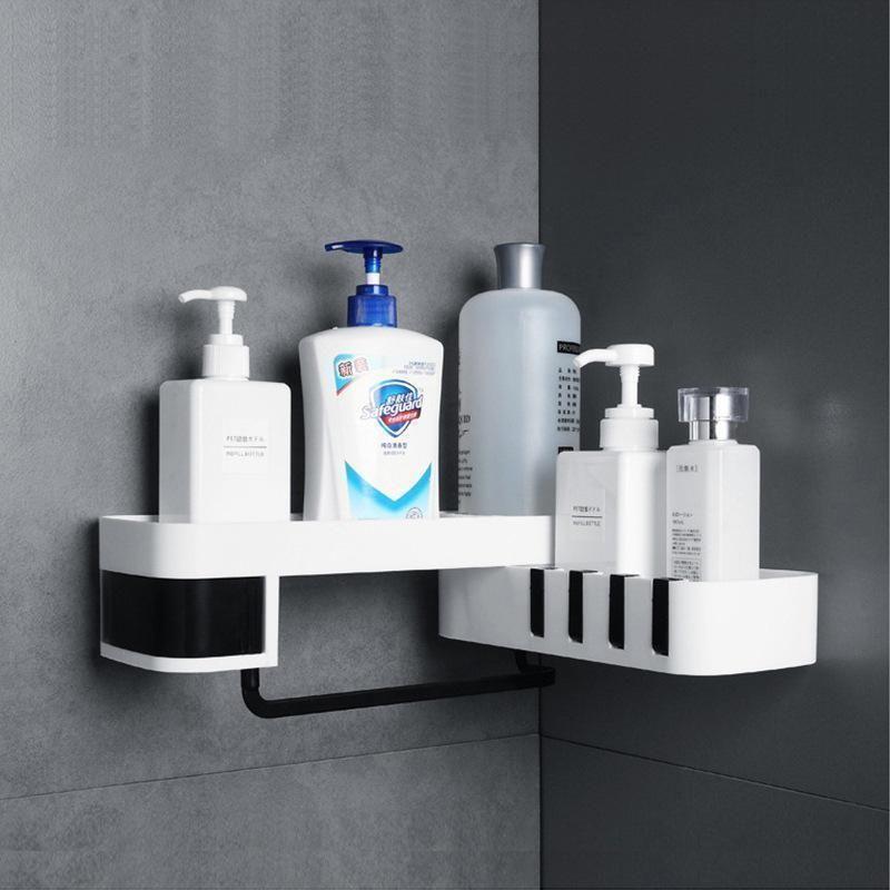 Bath Corner Storage Rack Holder Shelf Bathroom Self-adhesive Rotating Tripod HOT