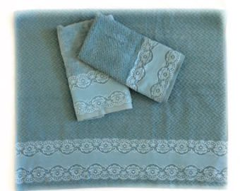 Decorative Bath Towel Sets Smoky Blue Towel Set Of 3 Decorative Towels For Guest Bathroom