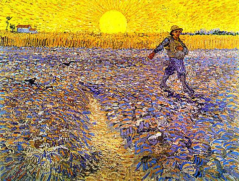 Van Gogh Sower With Setting Sun Complementary Color Pale