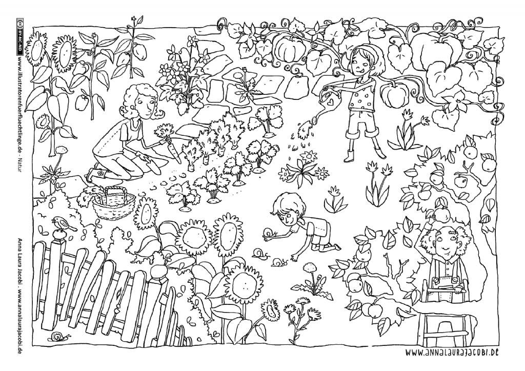 Download Als Pdf Natur Garten Gartenarbeit Sommer Jacobi En 2020 Coloriage Geometrie Ce1 Colorier