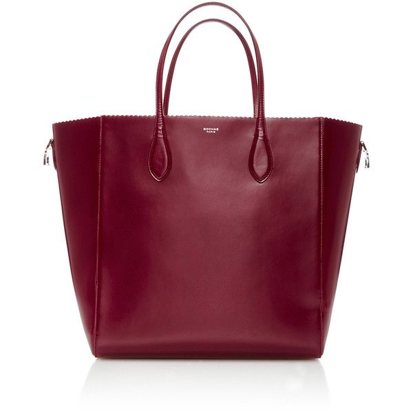 Rochas Scallop Edged Tote ($920) ❤ liked on Polyvore featuring bags, handbags, tote bags, genuine leather tote, leather handbags, tote purse, handbags totes and purple leather tote
