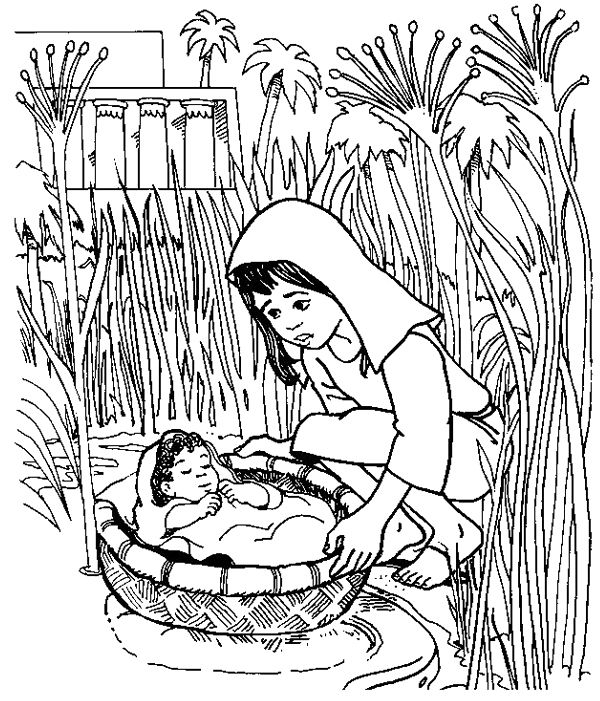 Baby Moses Floated On The River Coloring Pages preschooler