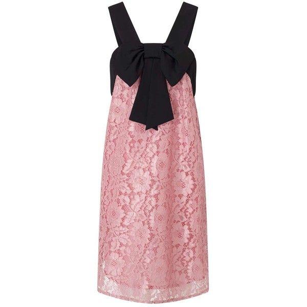 Miss Selfridge PETITE Pink Lace Bow Dress ($95) ❤ liked on Polyvore ...