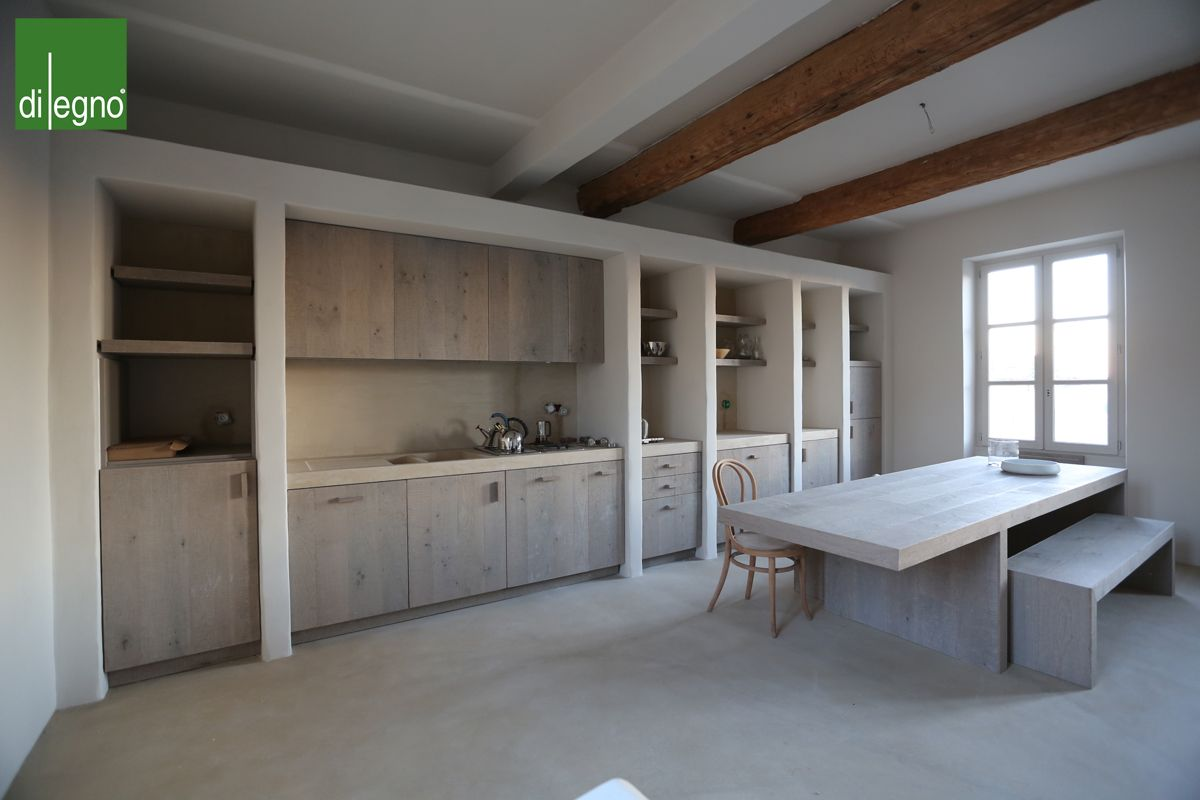 Aged wooden kitchen cabinets. Designed by Di Legno