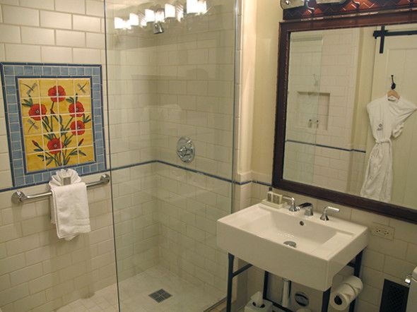Even in the bathroom, the showers have hand-painted tile murals—all done by local artisans.