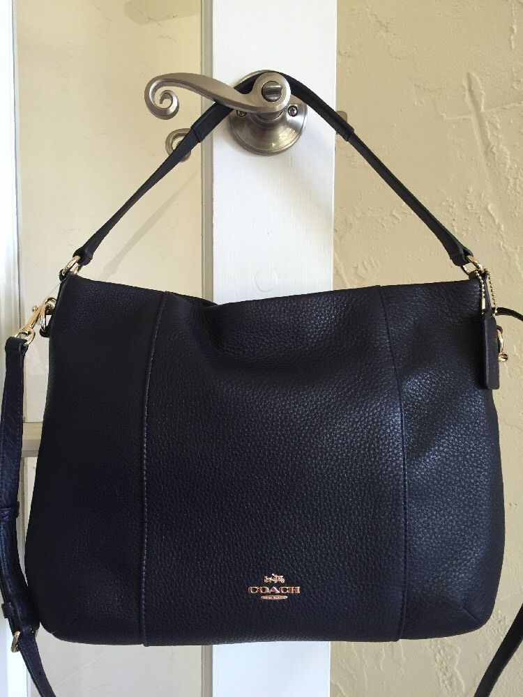 b52b4652ffb4 Coach F35809 EW Isabelle Shoulder Bag Midnight Blue Navy Pebble Leather  Xbody