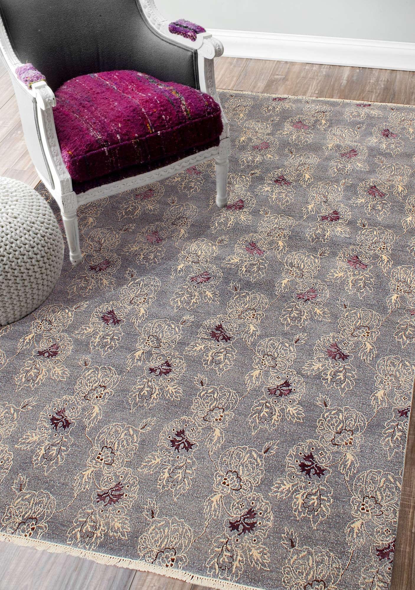 Rugsville Transistional Designer Gray Wool Silk Rug 8 X 10 Silk Carpet Contemporary Area Rugs Design