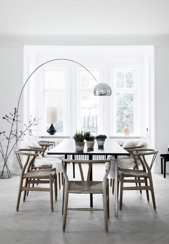 About The Product The Arco Floor Lamp Is Barcelona Design S Beautiful Replica Of The Origina Dining Room Interiors Scandinavian Dining Room Minimalism Interior