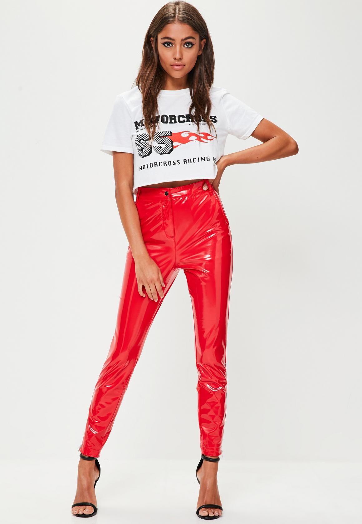 be8b6fc6c9060e Missguided - Red Ankle Grazer Vinyl Skinny Trousers in 2019 ...