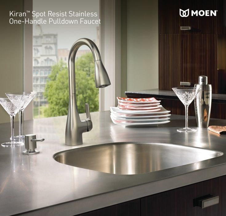 Contemporary faucet in spot-resistant stainless finish. @Lowe\'s ...