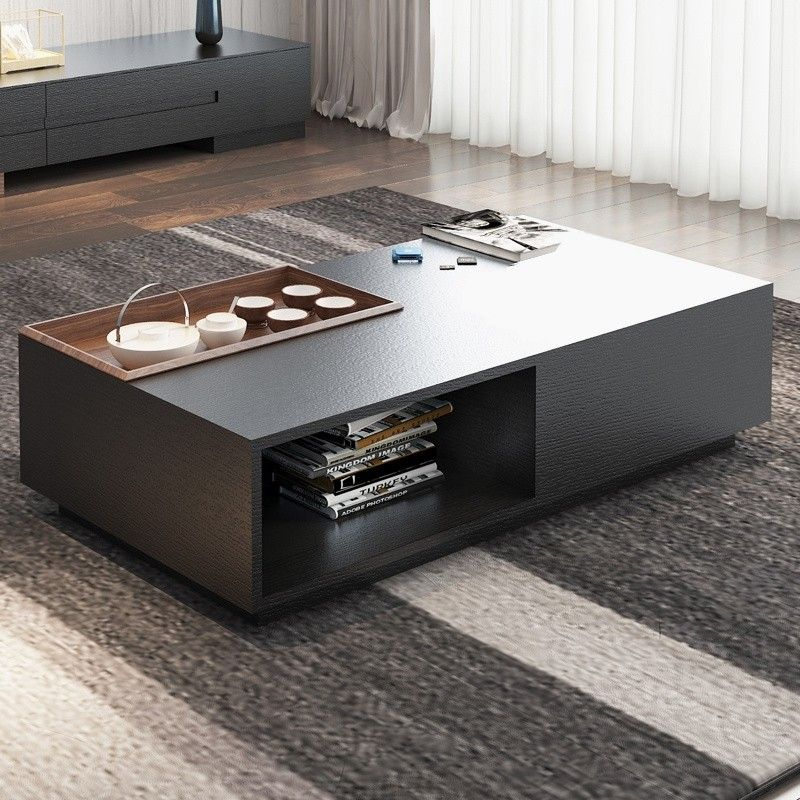 Rectangular Storage Coffee Table With Drawer In Black Walnut