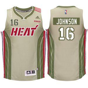 Miami Heat #16 James Johnson Home Strong Khaki Swingman Jersey