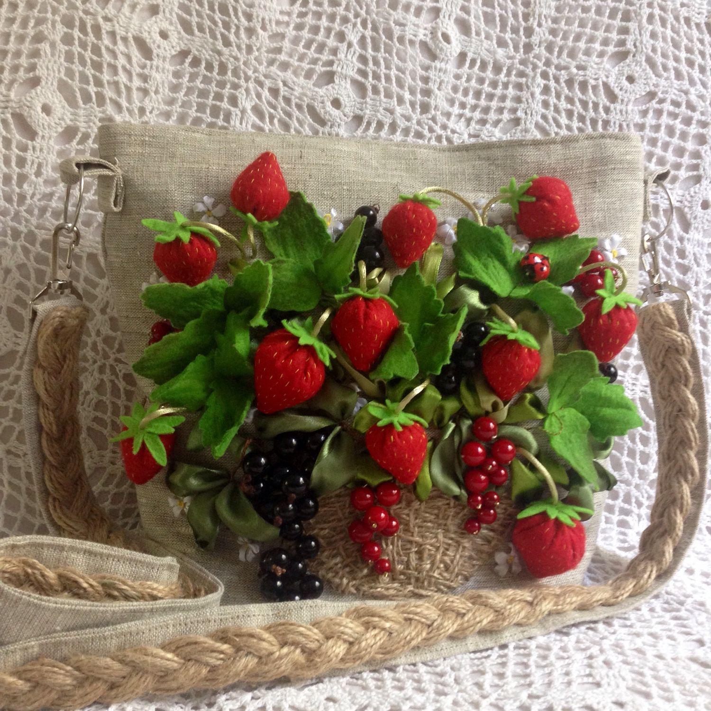 Купить Женская сумка 'лукошко' - летняя сумка, Сумка вышитая лентами, божья коровка, ягоды