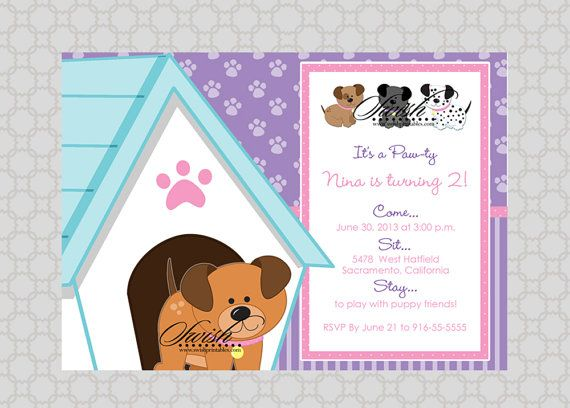 Puppy Adoption Party Birthday Invitation by SwishPrintables – Toddler Birthday Invitation