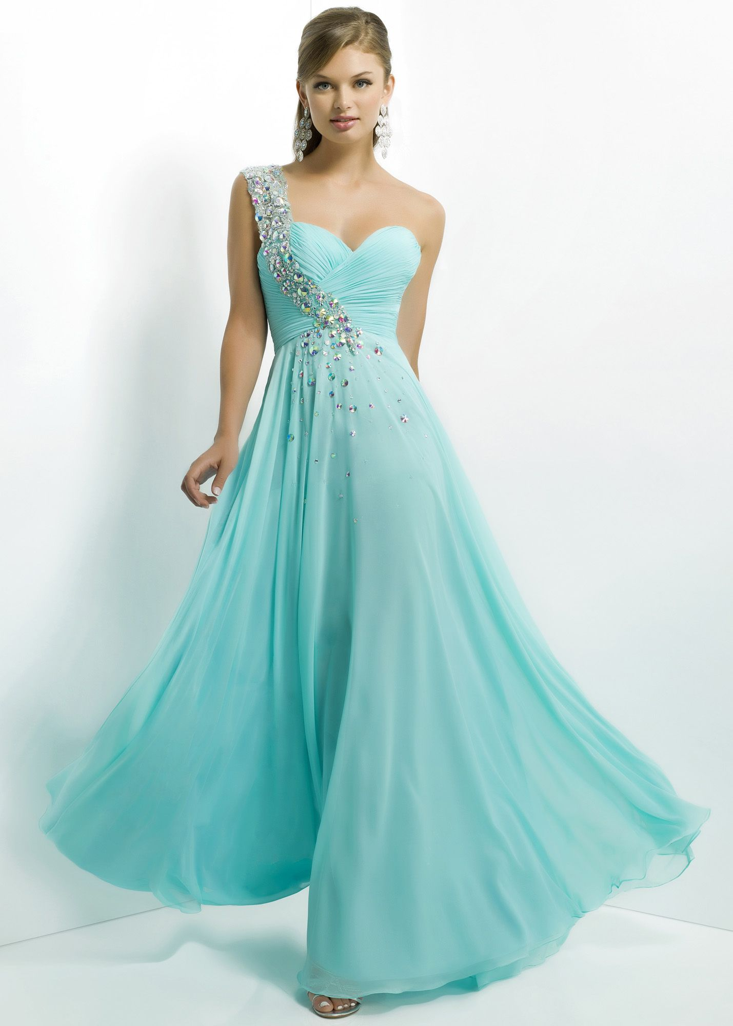 Aqua Long Blush Prom 9760 Beaded One Shoulder Prom Dress | long ...