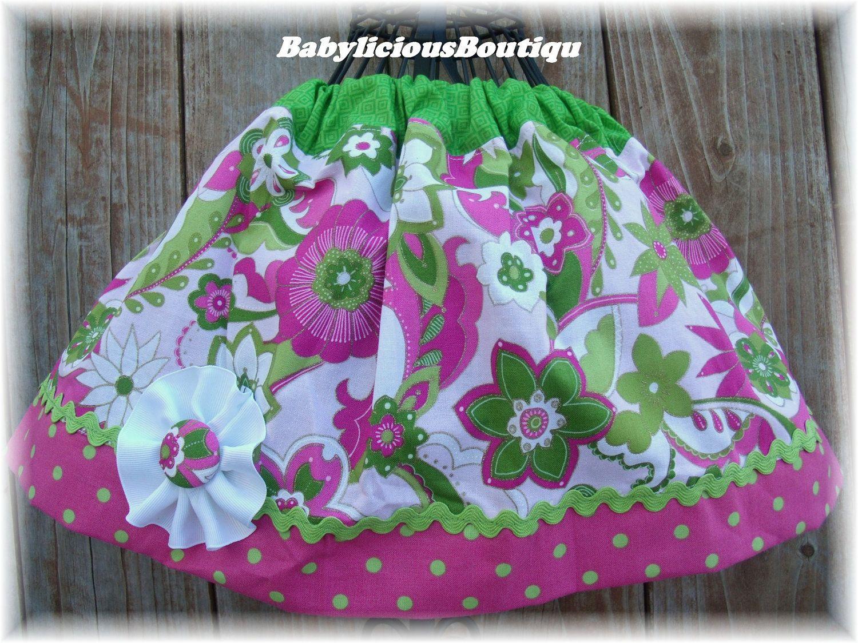 Girls skirt, Infant skirt, Twirl Skirt Custom..Big Blooms..Available in 0-12 months, 1/2, 3/4, 5/6, 7/8, 9/10 Bigger Sizes Available. $16.99, via Etsy.