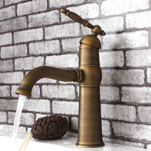 Photo of [$44] Single lever handle Antique Brass Bathroom Faucet 115F