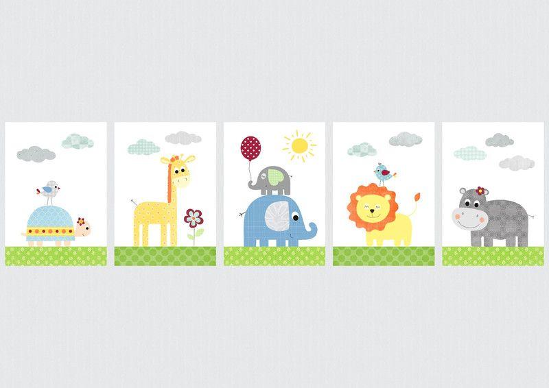 Poster Selber Machen: DSCHUNGELTIERE SET 6 Kinderzimmer Bilder / Poster Von