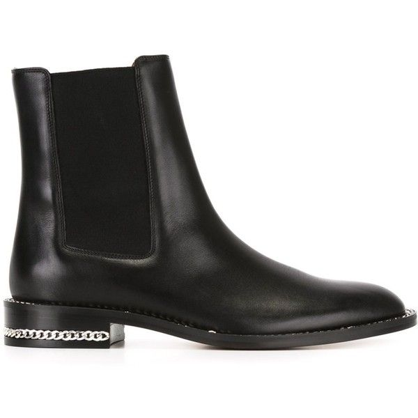 Givenchy chain trim chelsea boots ($1,295) ❤ liked on Polyvore featuring shoes, boots, ankle booties, black, black chelsea boots, low heel booties, short heel boots, slip on boots and low heel black booties