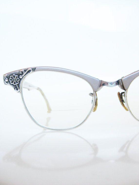 b2f7d2af2a0 Vintage Art Craft Rose Pink Eyeglasses Cat Eye 1950s Cateye Glasses Optical  Frames Mid Century Modern 50s Floral Embellished Fancy Indie