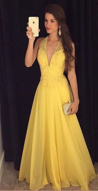 V-Neck Beading Handmade Prom Dress,Long Prom Dresses,Prom Dresses ...