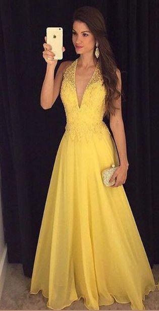V-Neck Beading Handmade Prom Dress 65c39dbe7769