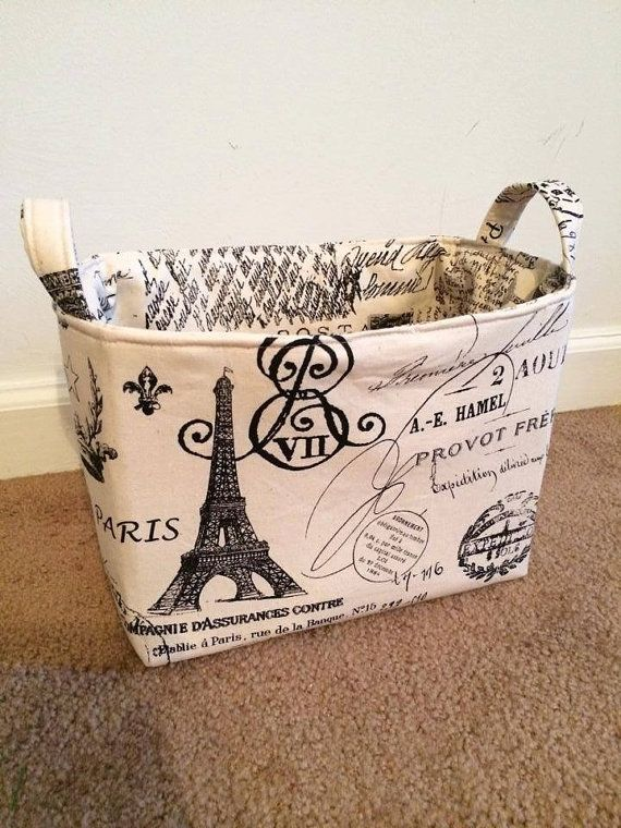Paris Themed Small Fabric Storage Basket Eiffel Tower, France. Paris Theme  BathroomParis Theme DecorParis ...