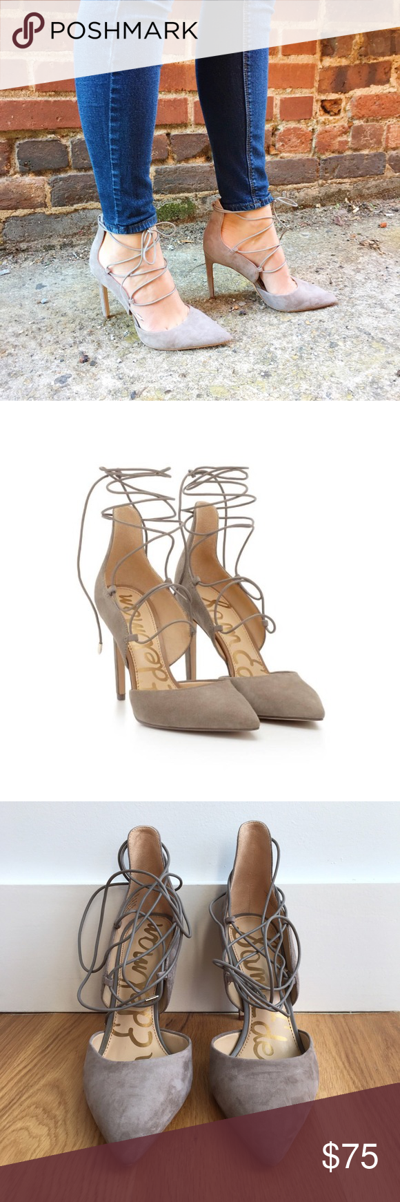 """Sam Edelman Lace-Up Suede Heels - Sam Edelman nude lace up heels - Beautiful real suede leather - 4"""" heel height - Only worn indoors once, in perfect condition Sam Edelman Shoes Heels"""