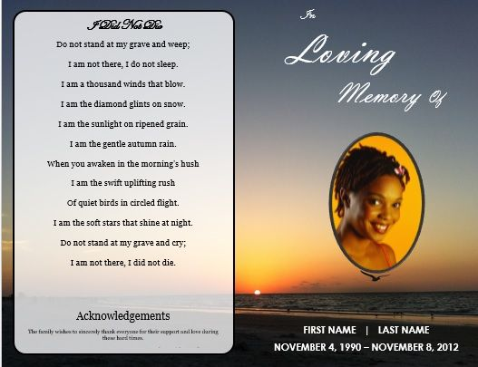 Sunset Bi Fold Memorial Service Program Template   Single Fold - free obituary template