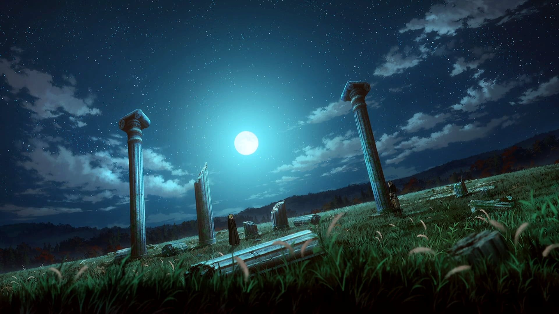 Vinland Saga Landscape Ruins Night Night Sky Moon Stars Clouds Roman Empire England Anime Manga Trees Grass Makoto Yukimura Wit Studio Thorfinn Em 2020 1080p