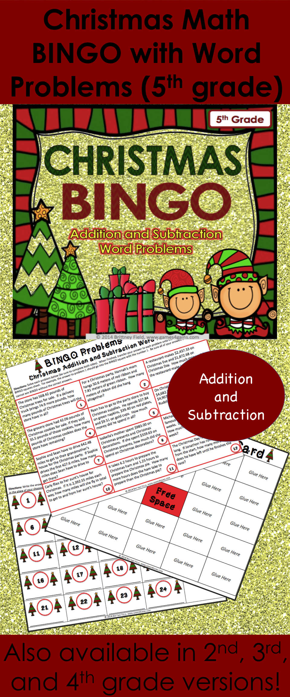5th Grade Christmas Activity: 5th Grade Christmas Math Bingo Game ...