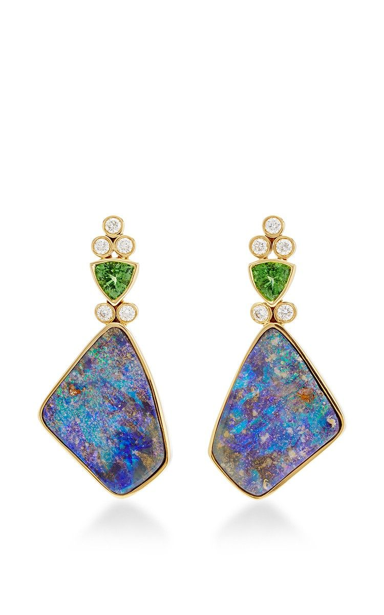 One Of A Kind Classic Green Opal Earrings by Katherine Jetter