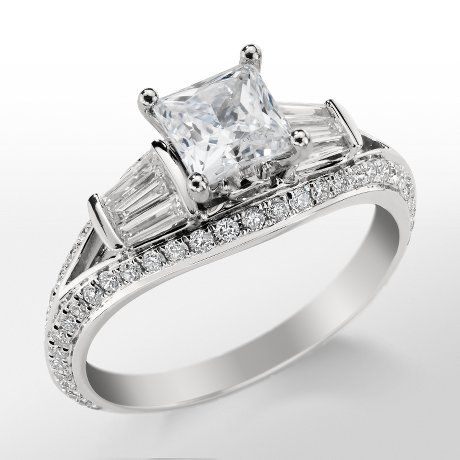 Monique Lhuillier Tapered Baguette Engagement Ring.