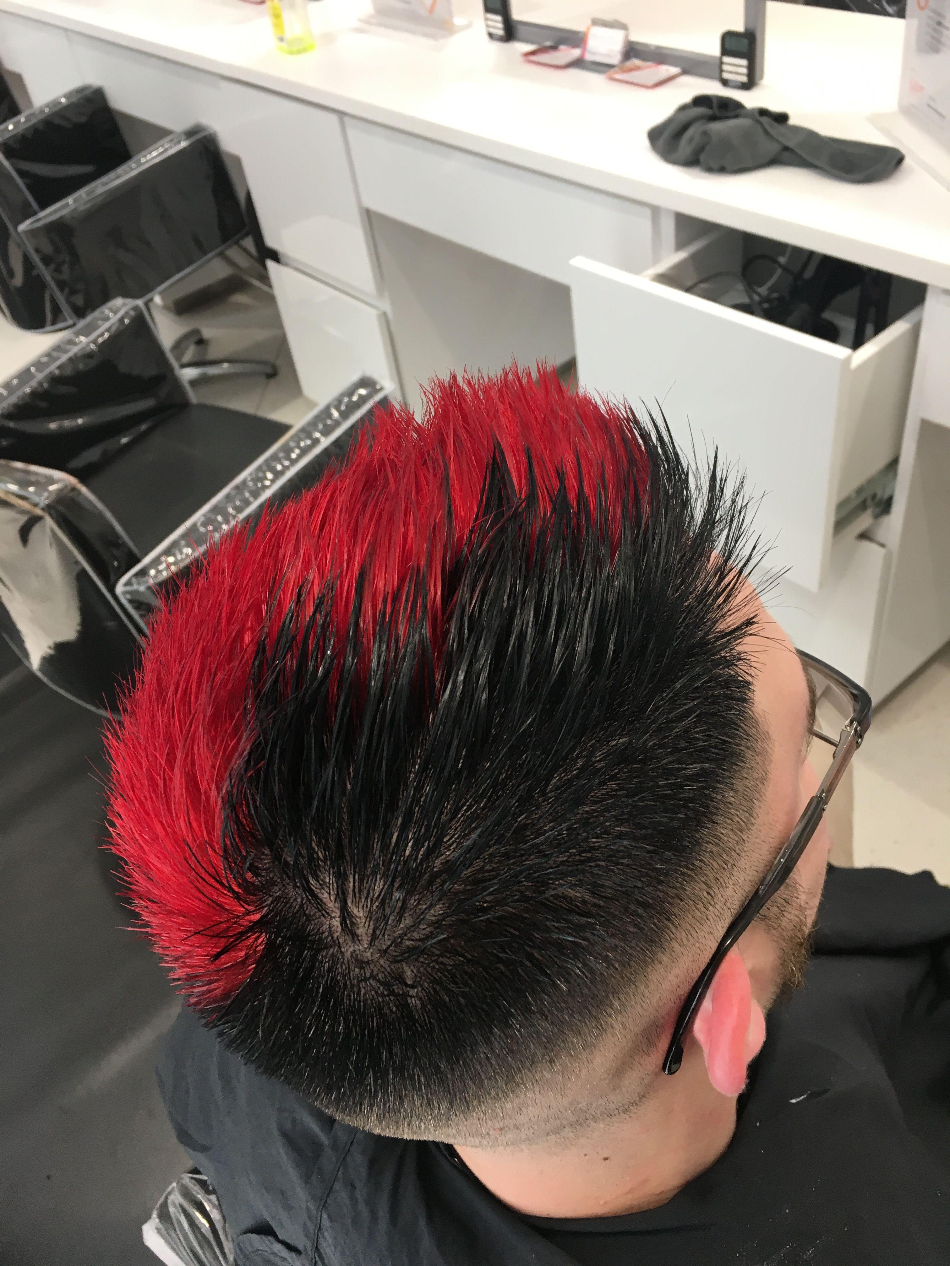 Red And Black Hair Boy : black, Black, #harleyquinn, Hair,, Colored