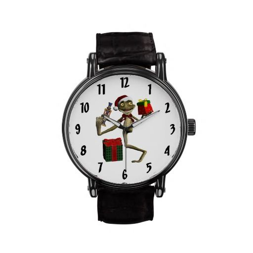 FUN! Santa Frog Hoppy Holidays Wrist Watch! This is so cute for someone who loves frogs! #Christmas #Frog #Santa #Watch