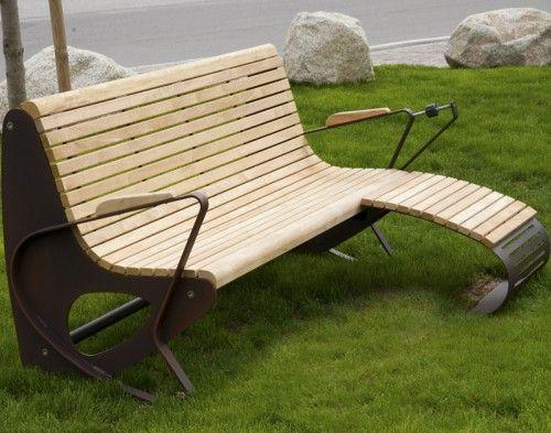 Guyon mobilier urbain banc bois allrelax 1015 repose pieds - Banc de jardin en bois ...