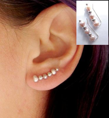 c0e9005b6 This earring sits on the ear just like a bobby pin. Made of sterling silver  and 4mm pink freshwater pearls and sterling silver beads.