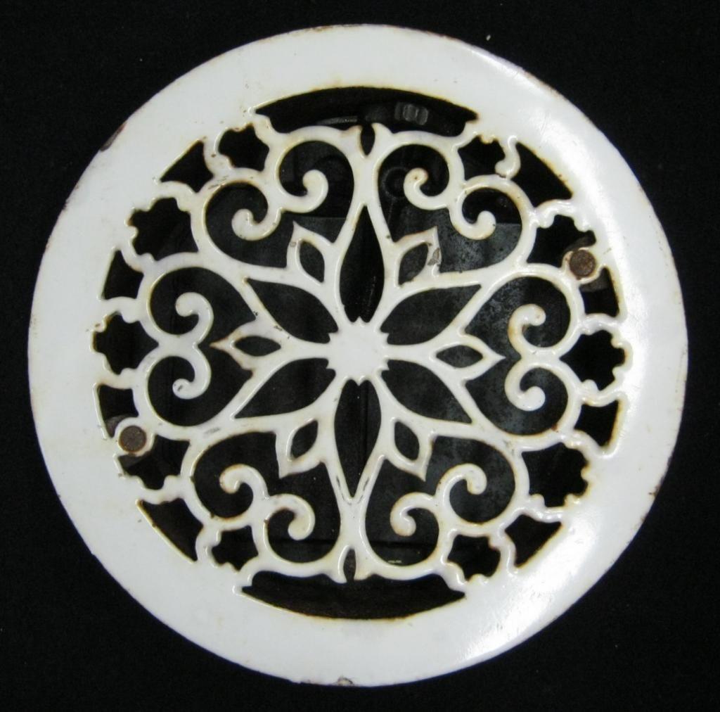 Decorative Metal Grates Vintage Round Porcelain Heat Grate Floor Register 1994 13