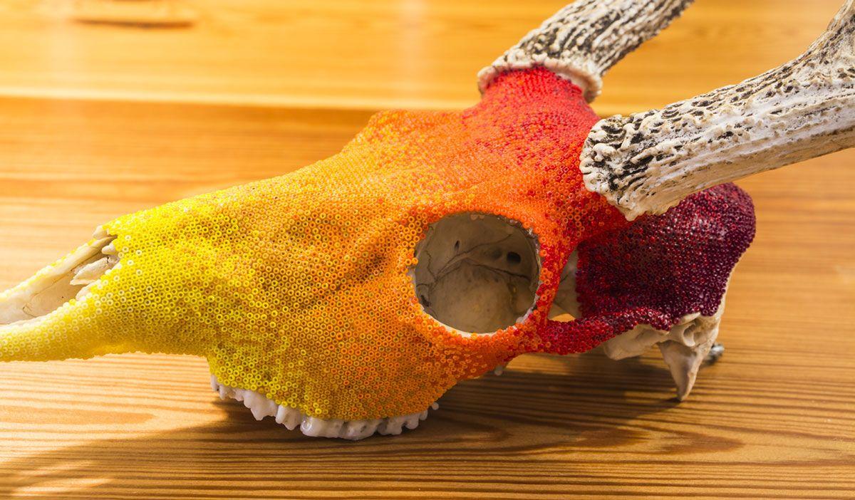 dead things (thefreeway4: Beaded Deer skull (source + more...)