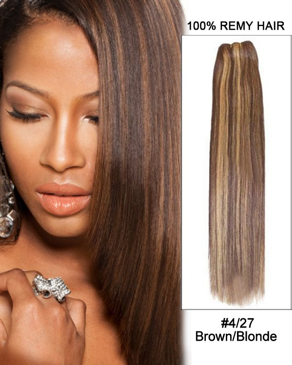 16 4 27 Brown Blonde Straight Weave 100 Remy Hair Weft Human