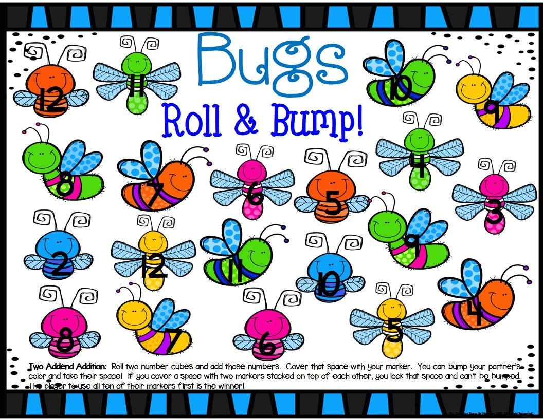 Bugs Math Center Dice Games Math centers, Math facts