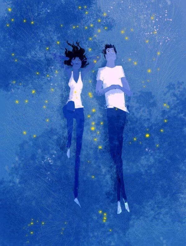 Click To See 14 Love artworks in 14 different styles. Pascal Campion  has tinted the grass blue with fireflies all around to make it appear as the dreamy night sky that they are actually watching.