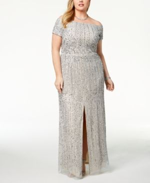 76c60490d96 Adrianna Papell Plus Size Embellished Off-The-Shoulder Gown - Purple 22W