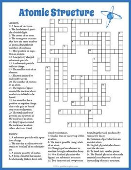 Familiarize Your Students With The Definitions Of 27 Important Atomic Structure Vocabulary Words This Fun Crossword Puzzle Worksheet