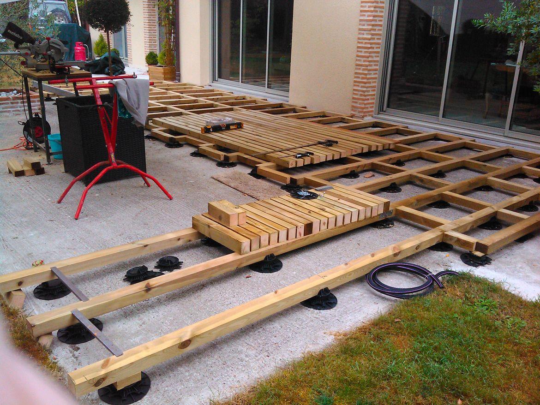 exceptionnel construction du0027une terrasse bois sur plots